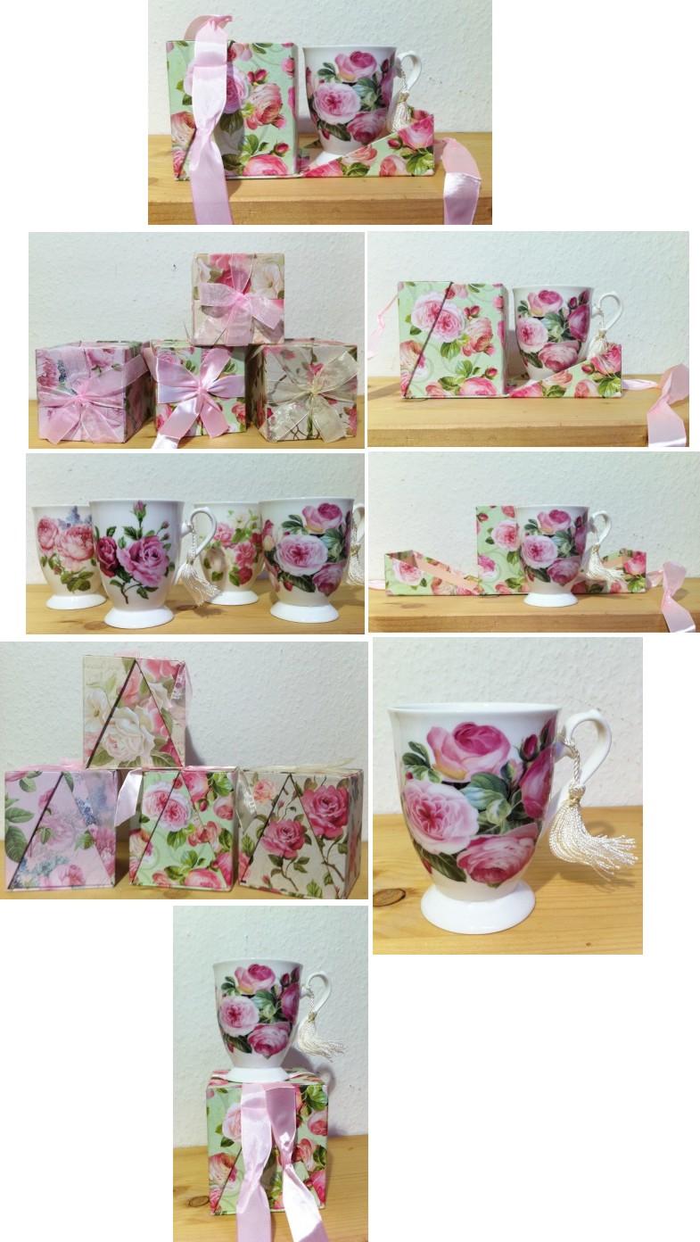 tasse kaffeetasse rose 3 cappuccino tee kaffee becher geschenk blumen muttertag ebay. Black Bedroom Furniture Sets. Home Design Ideas