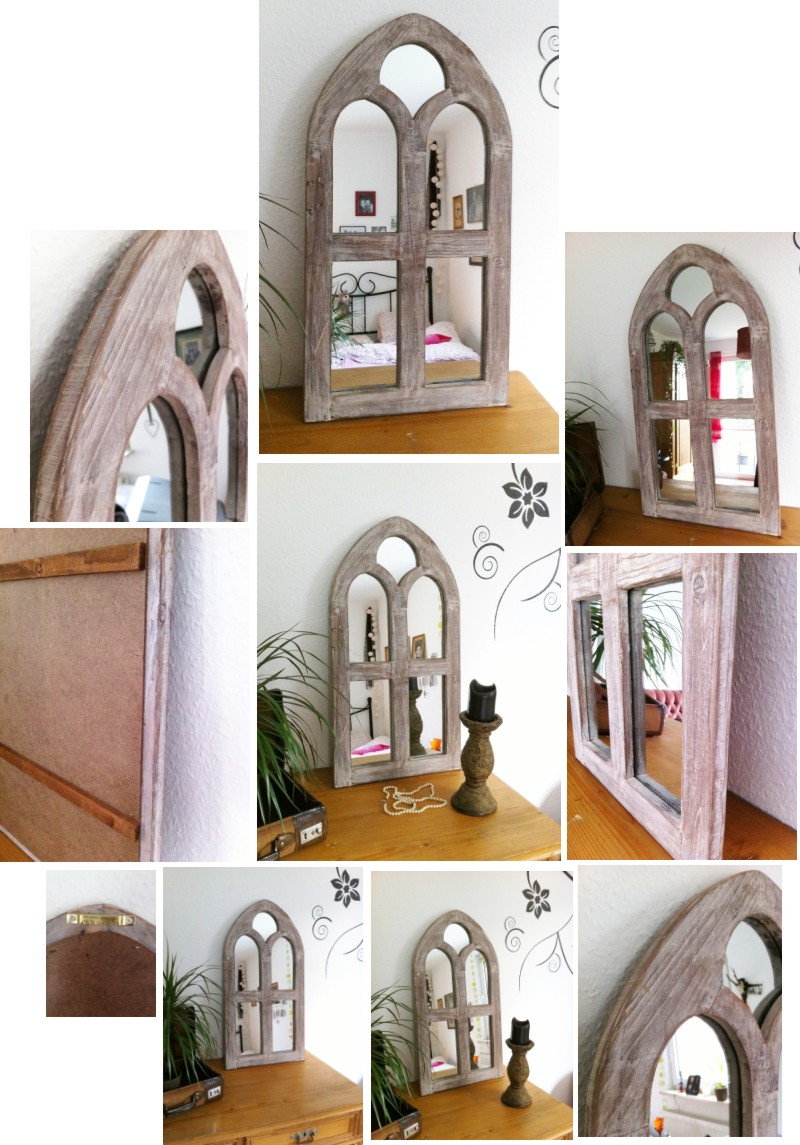 spiegel holz fenster 75x40x2 5 wandspiegel shabby antik landhaus gothic oriental ebay. Black Bedroom Furniture Sets. Home Design Ideas
