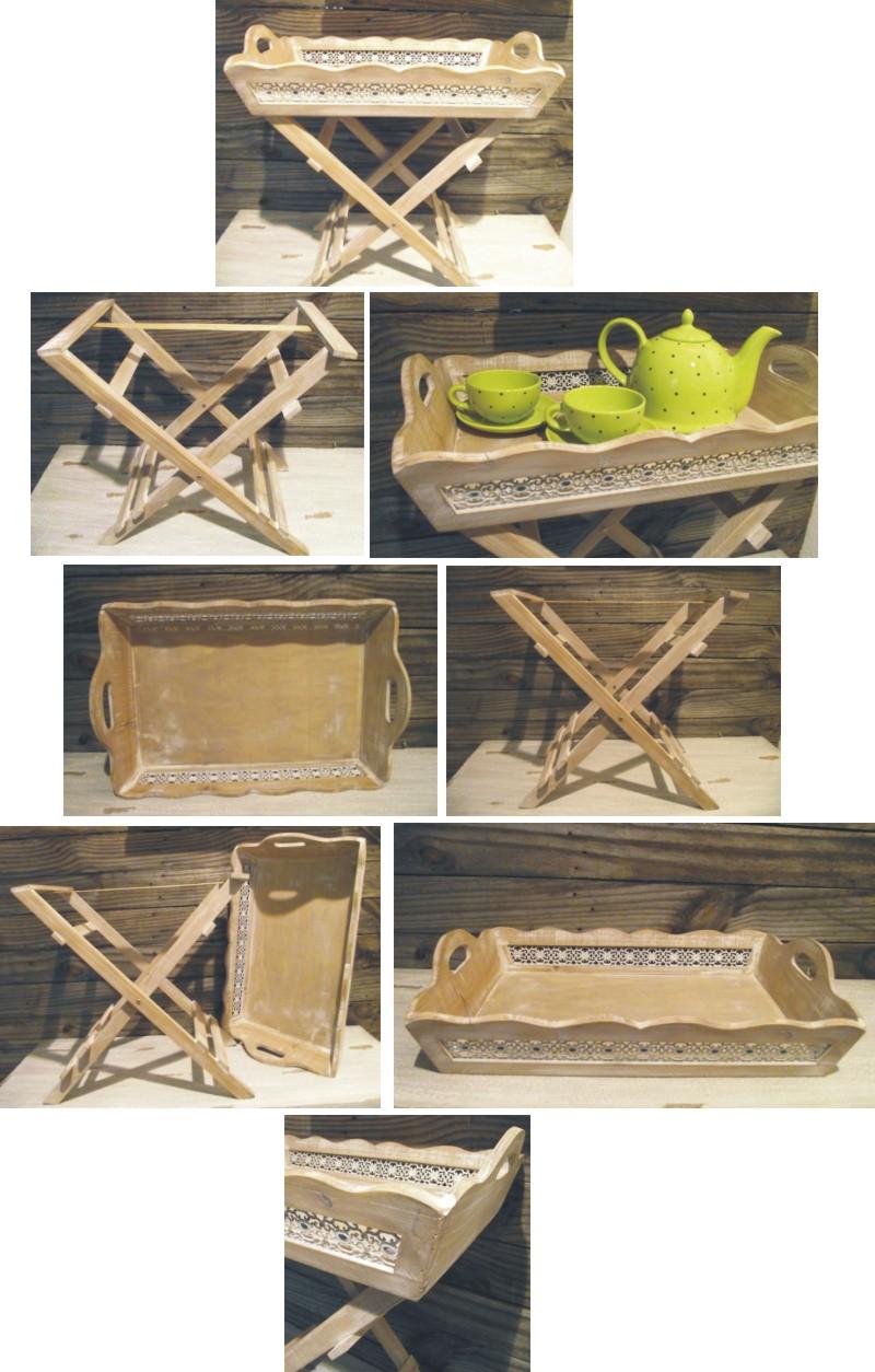 tablett tisch holz mit ornamenten antik wei landhaus tischtablett beistelltisch ebay. Black Bedroom Furniture Sets. Home Design Ideas